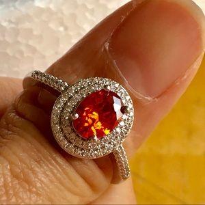 New white GF silver orange oval ring jewelry Sz 9